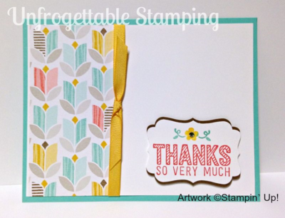 Unfrogettable Stamping | QE Simply Wonderful thank you card featuring several Sale-a-Bration products