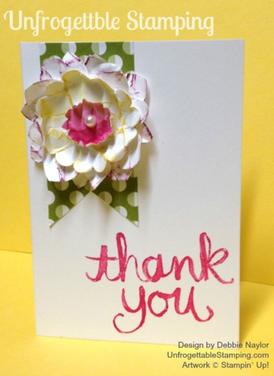 Unfrogettable Stamping | Thank You card featuring the Watercolor Thank You stamp and Sweet Taffy DSP by Stampin' Up!