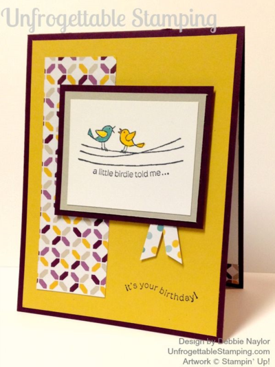 Unfrogettable Stamping | QE birthday card featuring For the Birds stamp set and Moonlight DSP stack by Stampin' Up! for the week of April 6, 2015