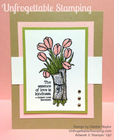 Unfrogettable Stamping | QE Spring card featuring the Love is Kindness stamp set by Stampin' Up! for week of 2015-04-20