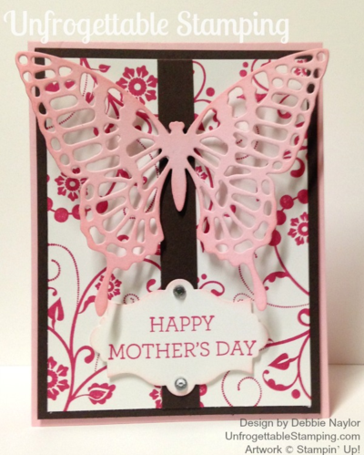 Unfrogettable Stamping   Fabulous Friday Mother's Day card featuring the Flowering Flourishes and Crazy About You stamp sets along with the Big Shot Butterflies and Apothecary Accents framelits by Stampin' Up!