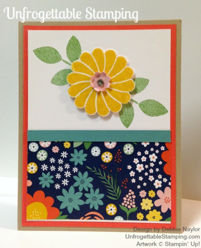 QE card featuring the Crazy About You stamp set and retiring Flower Pot DSP by Stampin Up! for week of 2015-05-04