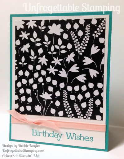 Unfrogettable Stamping | QE birthday card featuring the retiring Back to Black DSP and Four You stamp set by Stampin' Up! 2015-05-25