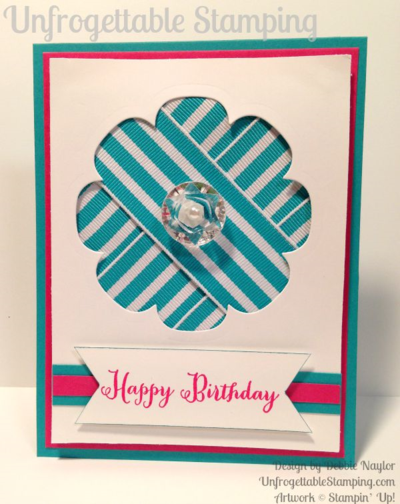 Unfrogettble Stamping | Fabulous Friday birthday card featuring bermuda bay striped ribbon, Floral Frames die for the Big Shot and the Remembering your Birthday stamp set by Stampin' Up!