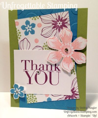 Unfrogettable Stamping | Sorority Sketch #2 thank you cards featuring the Beautiful Bunch stamp set and coordinating Fun Flower punch by Stampin' Up!