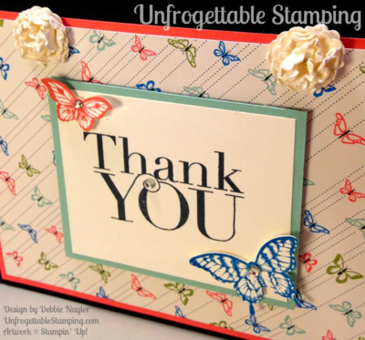 Unfrogettable Stamping | Fabulous Friday Notecard Set and Holder featuring the Pretty Petals DSP and Papillion Potpourri stamp set by Stampin' Up!