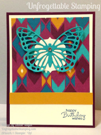 Unfrogettable Stamping | QE birthday card featuring the Bohemian DSP, Butterflies thinlits for the Big Shot and Petite Pairs stamp set by Stampin' Up! for week of 2015-08-17