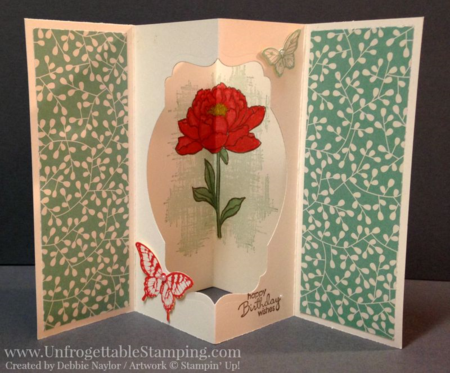 Unfrogettable Stamping | Fabulous Friday tunnel card featuring the Pretty Petals DSP stack, Happy Birthday Everyone, You've Got This and Papillon Potpourri stamp sets and coordinating butterfly punches from Stampin' Up!