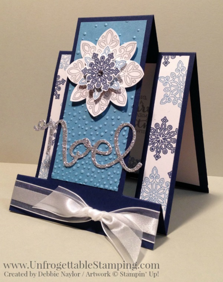 Unfrogettable Stamping | Fabulous Friday fun fold center step card featuring the Flurry of Wishes stamp set and Snow Flurry punch in the Stampin' Up! Holiday catalog