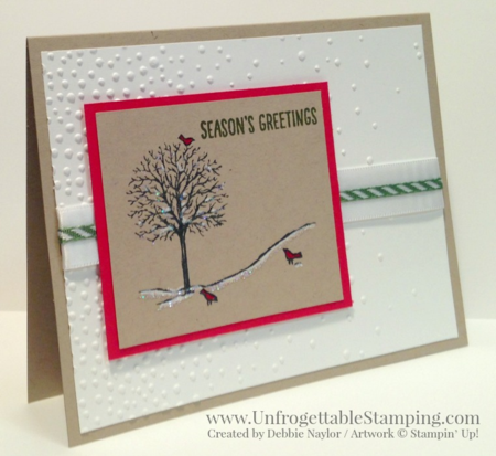 Unfrogettable Stamping | 2015 Week 5 QE Christmas card featuring the Happy Scenes stamp set and Softly Falling textured impressions folder for the Big Shot by Stampin' Up!