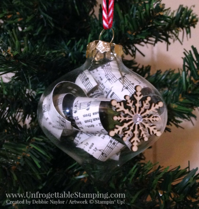 Unfrogettable Stamping | Fabulous Friday musically inspired Christmas ornament featuring the Home for Christmas DSP, striped ribbon and Snowflake Elements from the Stampin' Up! 2015 Holiday catalog