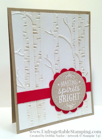 Unfrogettable Stamping | 2015 Week 6 QE Christmas card featuring the Among the Branches stamp set and Big Shot Woodland texture folder bundle in the Holiday catalog by Stampin' Up!