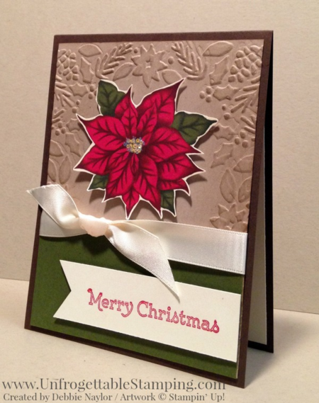 Unfrogettable Stamping | 2015 QE Week 9 Christmas card featuring the Big Shot Boughs & Berries textured impressions folder, Home for Christmas DSP and Versatile Christmas stamp set by Stampin' Up!