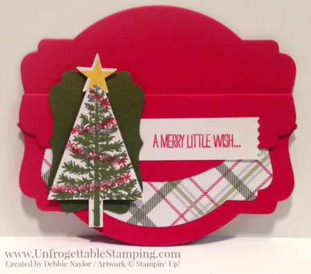 Unfrogettable Stamping | Fabulous Friday gift card holder featuring the Deco Labels Collection Framelits, Festival of Trees bundle, Merry Moments DSP and various punches by Stampin' Up!