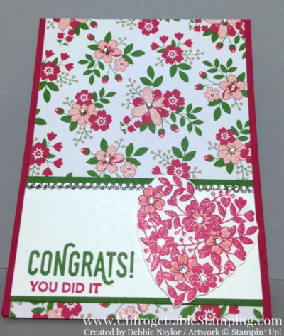 Unfrogettable Stamping | Fabulous Friday congratulations card featuring the Bloomin Love stamp set and Love Blossoms DSP by Stampin' Up!