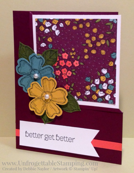 Unfrogettable Stamping | Fabulous Friday get well card featuring the Wildflower Fields SAB exclusive DSP, Birthday Blossoms and A Dozen Thoughts stamp sets and Pansy punch by Stampin' Up!