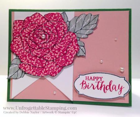 Unfrogettable Stamping | QE birthday card featuring the Rose Wonder stamp set and Love Blossom DSP stack from the Occasions catalog by Stampin' Up! for week of 2016-02-15