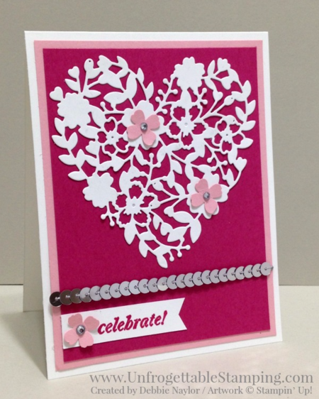 Unfrogettable Stamping | QE celebration card featuring the Bloomin' Hearts thinlits and the And Many More stamp set by Stampin' Up! for week of  2106-03-07