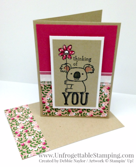Unfrogettable Stamping | QE thinking of you card featuring the retiring Kind Koala stamp set and Love Blossoms DSP stack along with the crumb cake note card and envelope set by Stampin' Up! for the week of 2016-05-09
