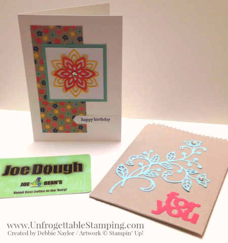 Unfrogettable Stamping | Fabulous Friday birthday card and gift card holder featuring the Big Shot, Flourish and Mini Treat Bag framelits and Affectionately Yours specialty DSP by Stampin' Up