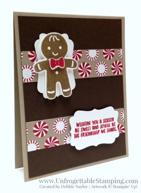 Unfrogettable Stamping | 2016 12 Weeks of QE Chrismas Cards Week 1 card featuring the Cookie Cutter Christmas bundle and Candy Cane Lane DSP by Stampin' Up!