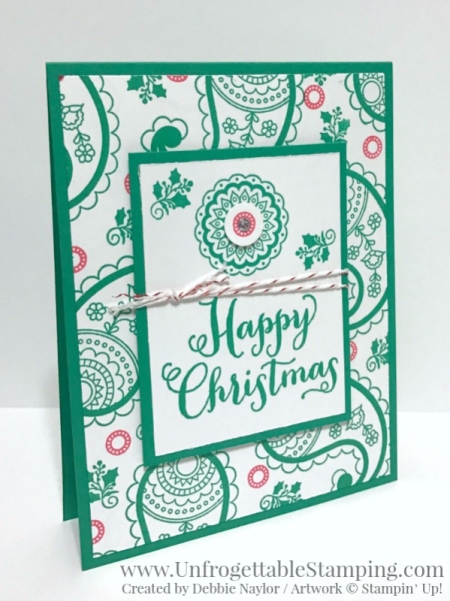 Unfrogettable Stamping | 2016 QE Christmas Week 10 card featuring Emerald Envy and Paisley and Posies stamp set by Stampin' Up!