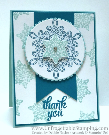 Unfrogettable Stamping | Fabulous Friday winter thank you card featuring the Flurry of Wishes stamp set and coordinating Snow Flurry punch by Stampin' Up!