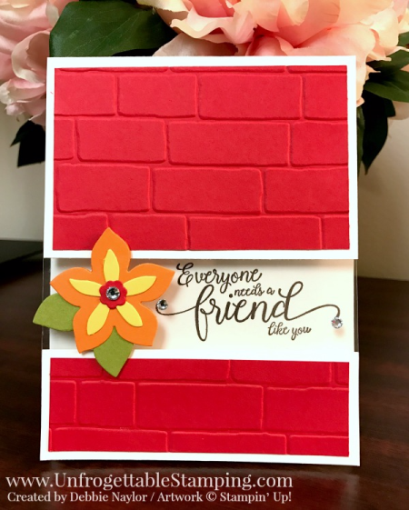 Unfrogettable Stamping | Fabulous Friday friend card featuring Clear Window Sheets, Suite Sentiments stamp set, Flower Fair thinlits and Brick embossing folder from Stampin' Up!