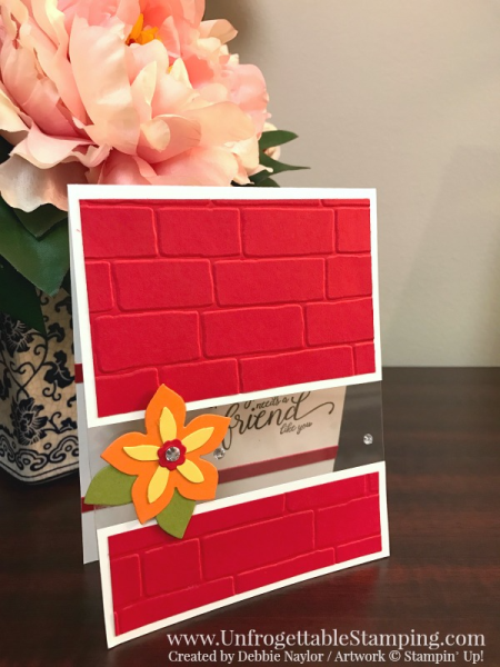 Unfrogettable Stamping   Fabulous Friday friend card featuring Clear Window Sheets, Suite Sentiments stamp set, Flower Fair thinlits and Brick embossing folder from Stampin' Up!