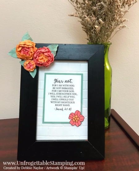 Unfrogettable Stamping | Fabulous Friday altered picture frame featuring paper flowers created using the Pansy, Petite Petals and Festive Flower Builder punches; Rose Wonder stamp set; Big Shot and Brick Wall textured impressions folder by Stampin' Up!