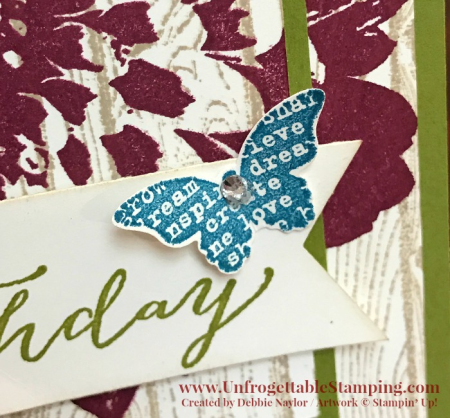 Unfrogettable Stamping | Fabulous Friday birthday card featuring the Butterfly Basics, Definitely Dahlia and Hardwoods background stamp sets by Stampin' Up!