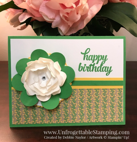 Unfrogettable Stamping   Fabulous Friday birthday card featuring In Color cucumber crush, Tin of Cards stamp set and Affectionately Yours DSP by Stampin' Up!