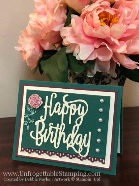 Unfrogettable Stamping | Stampers Dozen Sept 2017 color challenge birthday card featuring the Happy Birthday Gorgeous bundle and Decorative Ribbon Border punch by Stampin' Up!
