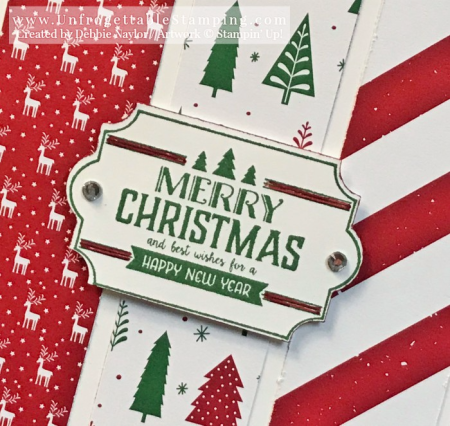 Unfrogettable Stamping   Twelve Weeks of Quick & Easy Christmas cards Week 1  featuring the Be Merry DSP,  Labels of Love stamp set and Everyday Label punch by Stampin' Up!