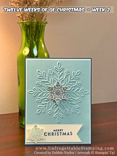 Unfrogettable Stamping   12 Weeks of QE Christmas  Week 2 card featuring the Winter Wonder texture folder and Flurry of Wishes stamp set by Stampin' Up!