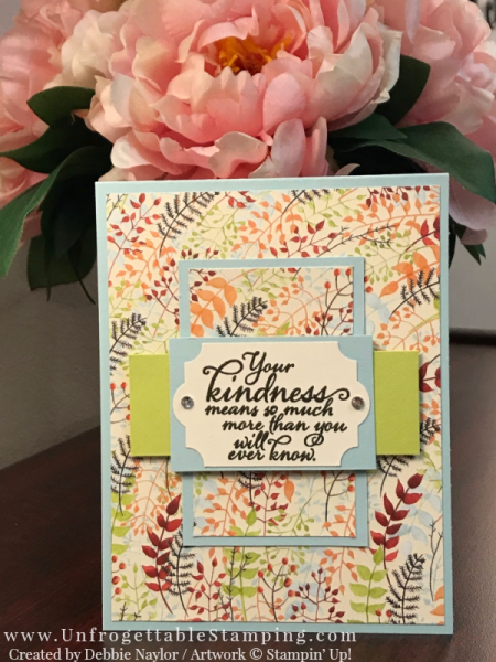 Unfrogettable Stamping | Stampers Dozen Blog Hop featuring the Painted Autumn DSP by Stampin' Up! This thank you card also features the Painted Harvest stamp set and Everyday Label punch.