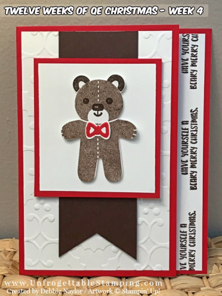 Unfrogettable Stamping | QE Week 4 Beary Christmas card featuring the Cookie Cutter Christmas stamp set and coordinating punch by Stampin' Up!