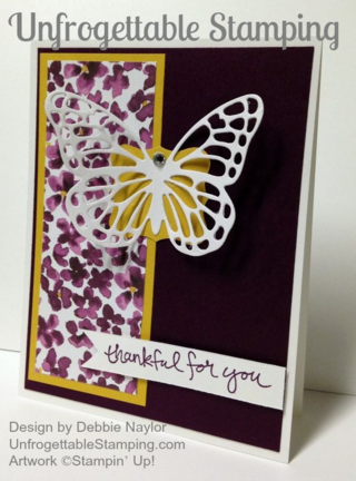 Unfrogettable Stamping | QE butterfly thank you card featuring Painted Blooms DSP and the new Butterflies Thinlits
