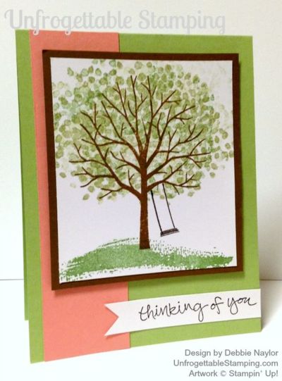 Unfrogettable Stamping | QE Thinking of You card featuring Sheltering Tree stamp set by Stampin' Up! for week of 2015-04-13