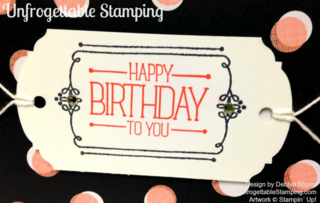 Unfrogettable Stamping | Fabulous Friday card featuring the Stampin' Up! Occasions catalog hostess set Because You Care along with the Stacked with Love DSP stack and Ornate Tag Topper punch