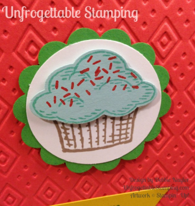 Unfrogettable Stamping | Fabulous Friday sneak peek birthday card featuring Sprinkles of Life stamp set with coordinating Tree builder punch, Boho Chic textured impression folder, Banner Triple punch and Cherry on Top DSP by Stampin' Up!
