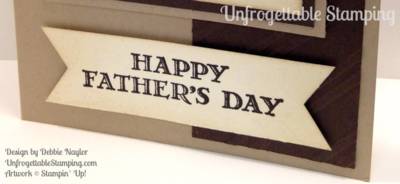 Unfrogettable Stamping | Fabulous Friday Father's Day card featuring the Guy Greetings stamp set, Stylish Stripes embossing folder and Triple Banner punch by Stampin' Up!