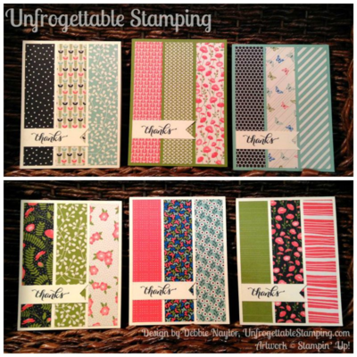 Unfrogettable Stamping | Fabulous Friday CASE'd thank you card set featuring the Pretty Petals DSP stack and Another Thank You set by Stampin' Up!