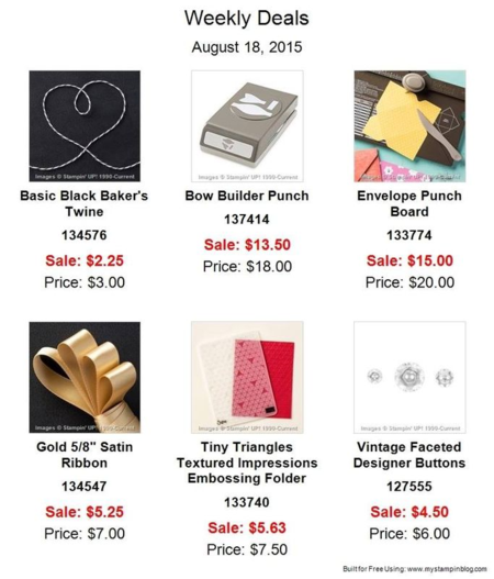 Unfrogettable Stamping | Weekly Deals from Stampin' Up! for week of Aug 18-24, 2015