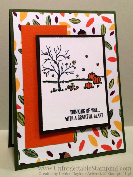 Unfrogettable Stamping |  Fall card featuring the new Happy Scenes stamp set and Into the Woods DSP in the 2015 Stampin' Up! Holiday catalog for week of 2015-09-07