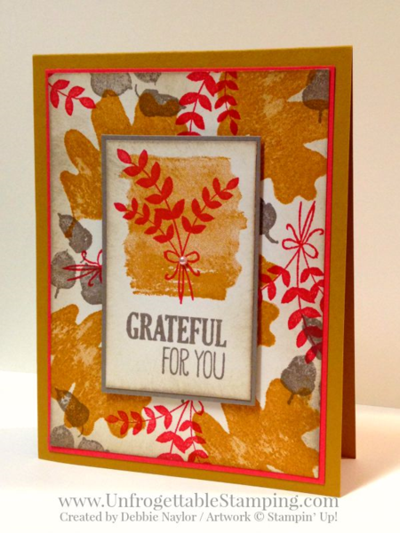 Unfrogettable Stamping | QE Fall thank you card featuring For All Things stamp set and new In Colors by Stampin' Up! for week of 2015-09-14