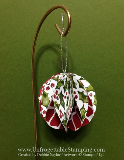 Unfrogettble Stamping | Fabulous Friday Christmas ornament featuring the Season of Cheer DSP and silver cording trim from the Stampin' Up! Holiday catalog