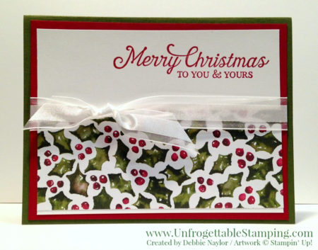 Unfrogettable Stamping | 2015 QE Week 8 Christmas card featuring the Six Sayings hostess stamp set and Season of Cheer DSP by Stampin' Up!