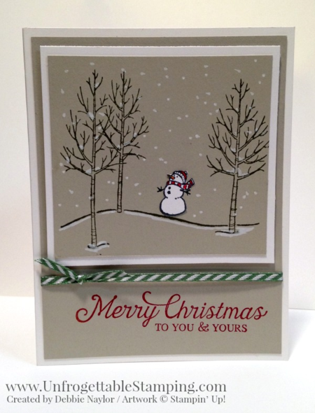 Unfrogettable Stamping | 2015 QE Week 10 Christmas card featuring the White Christmas stamp and Six Sayings stamp sets by Stampin' Up!
