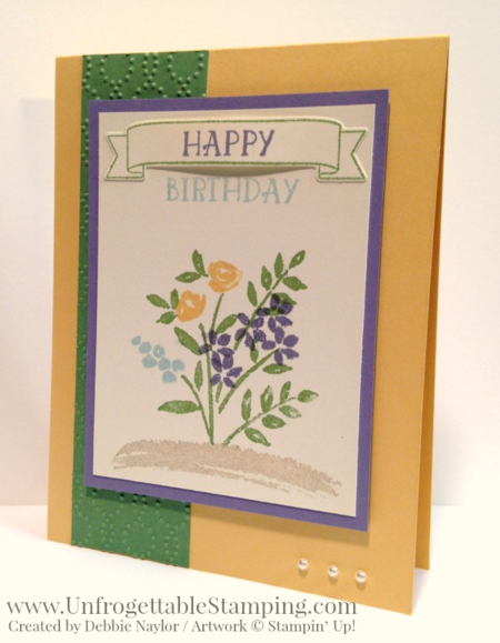 Unfrogettable Stamping | QE floral birthday card featuring the Number of Years stamp set and Large Numbers framelits bundle from Stampin' Up! for week of  2016-01-11